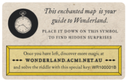 A graphic on an enchanted map that is the guide to Wonderland.