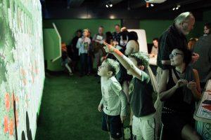 Children looking at the Interactive Garden.