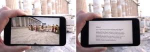 Two views of a smartphone screen, one with a street view and one with text.