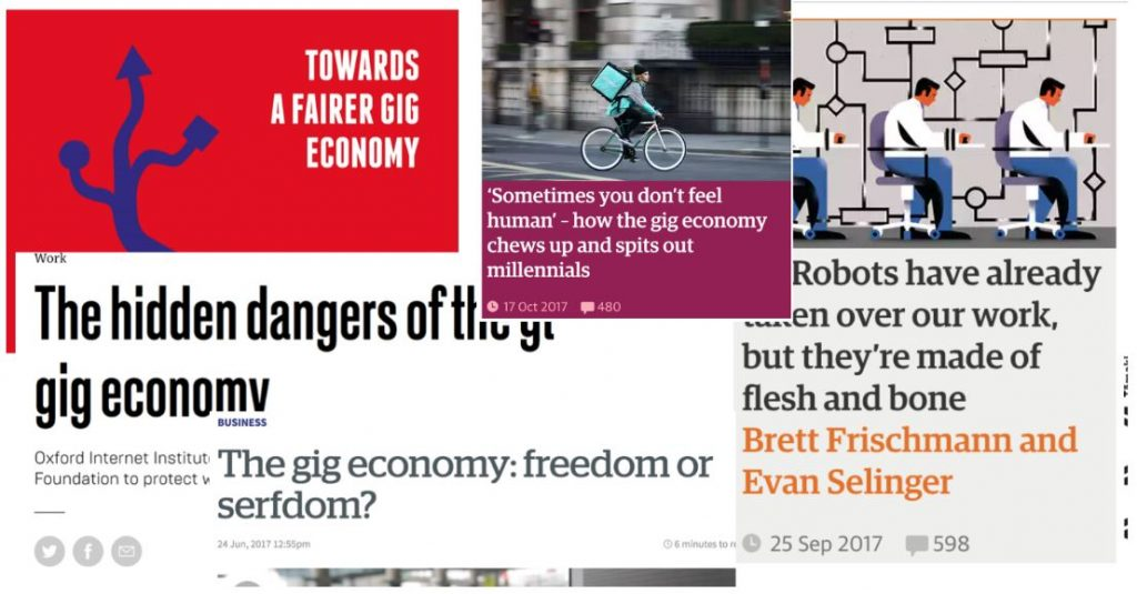 A screenshot of a number of headlines about the gig economy.