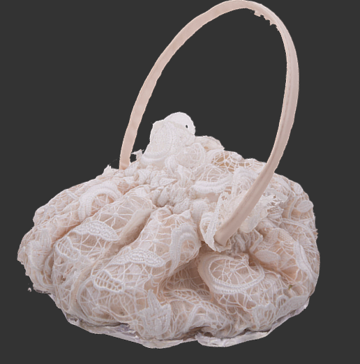 A photo of a purse a woman used on her wedding day.