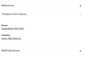 Timeline of Art History section on the Object page