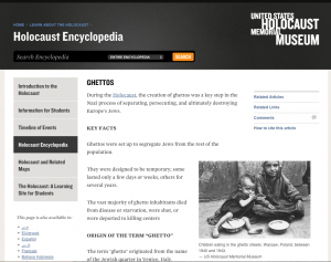 Screenshot of the Holocaust Museum online Encyclopedia 2015 article on Ghettos