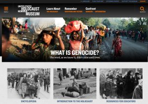Screen capture of the image rich homepage of ushmm.org from 2018