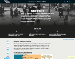 Screenshot of the Holocaust Museum online Encyclopedia 2018 article on Ghettos