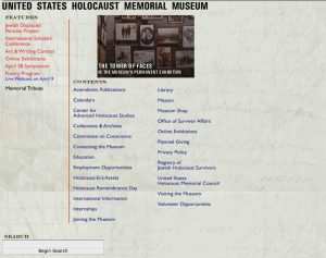 Screen capture of the mostly text Homepage of ushmm.org in 2000