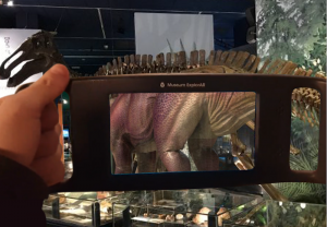 Figure 3: The Museum ExplorAR in use in the 'Dinosaurs and Prehistoric Creatures' experience