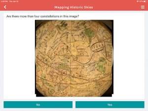 Screenshot of the Zooniverse ipad app with a map of the world.