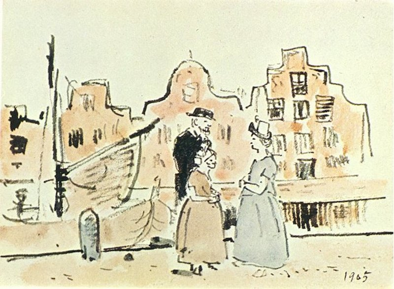 A Pablo Picasso painting of two women and a man on the street speaking.