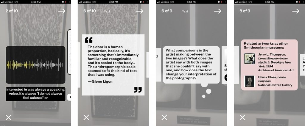 Screenshots of the Hirshhorn Eye videoguide. Four mobile screens depict the content features, including an artist quote and an audio file.