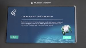Fig 4. Museum ExplorAR introduction screen to the Underwater Life experience