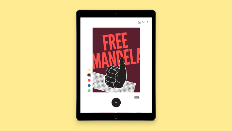 "Screenshot of an iPad with the slogan ""Free Mandela""."