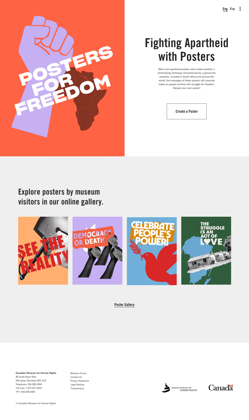"""Screenshot of a website with the slogan """"Posters for Freedom""""."""