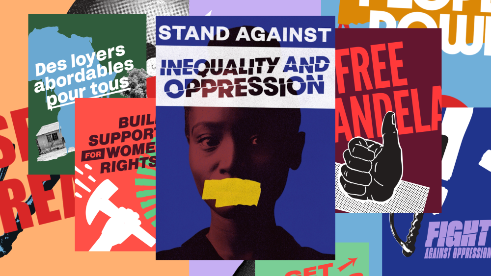 Stack of posters with collages of images and protest slogans.