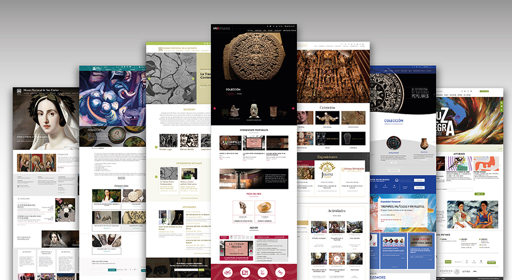 Various views of the website from the Museos de Mexico