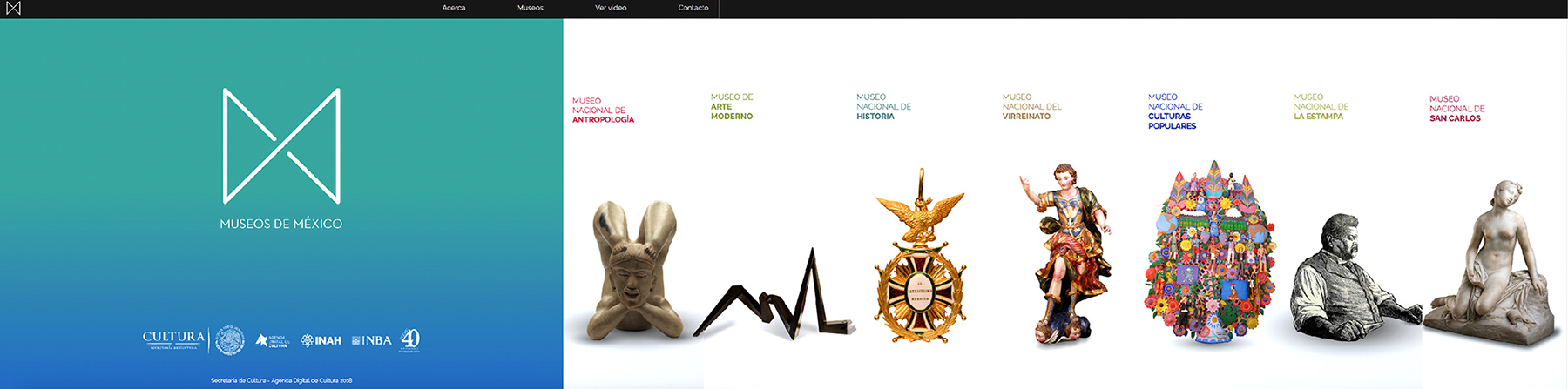 A screenshot of the main page of Museos de México