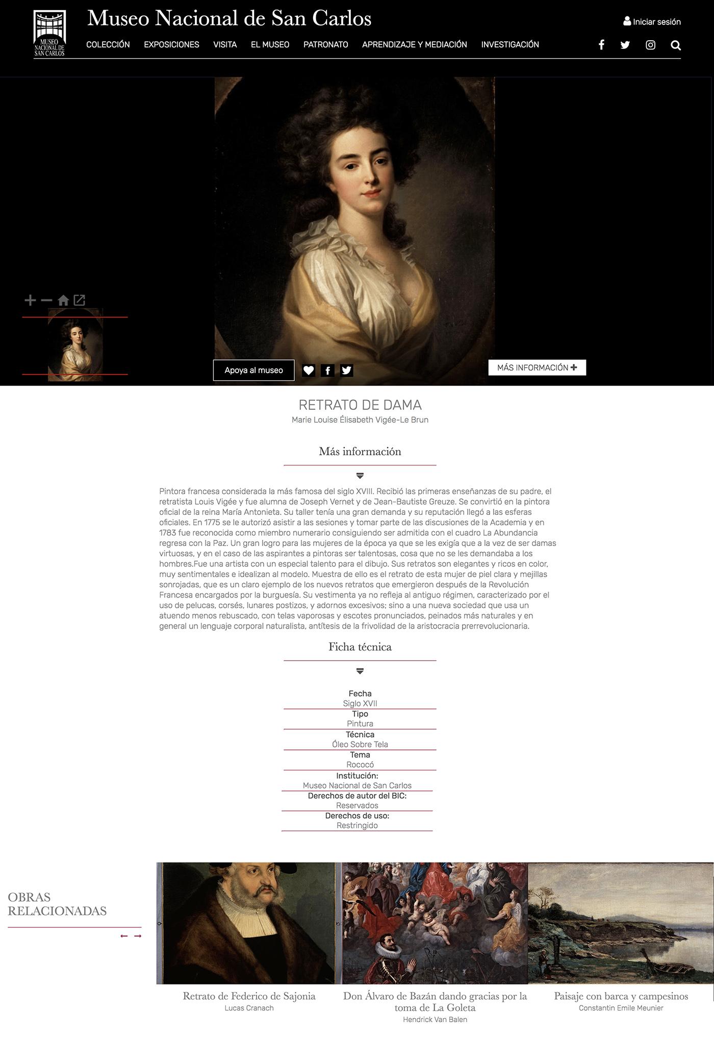 Screenshot of Graphic interface of Museos de México (Museo Nacional de San Carlos)