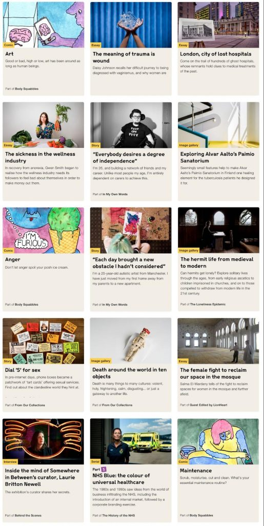 A screenshot of a collection of digital stories that have been published.