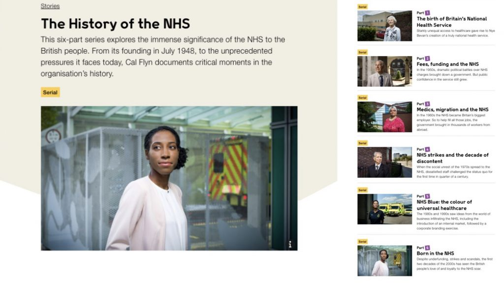 A screenshot of the history of NHS website.