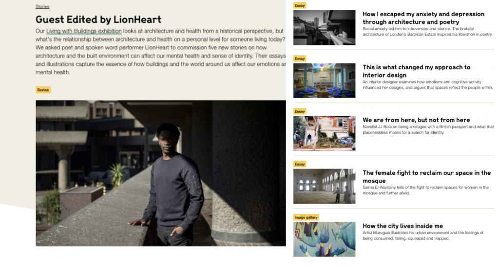 A screenshot of some of the stories featured on the website.