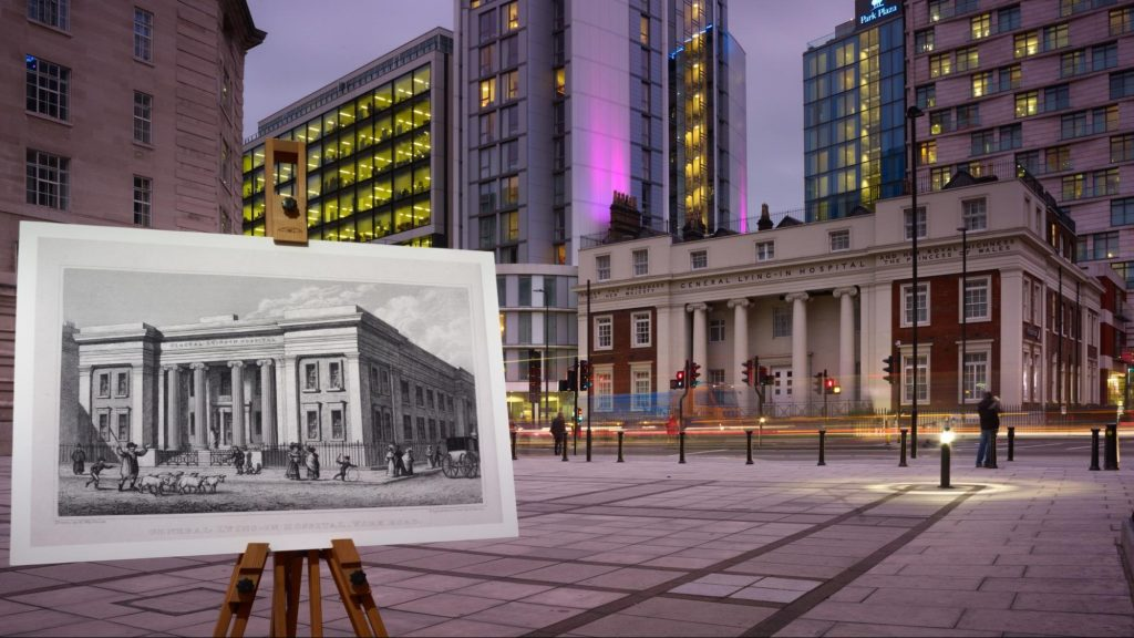 A photo showing a history image of a hospital, juxtaposed with a current view on the street.